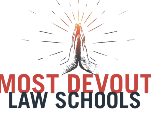 Graphic with an image of praying hands and the words Most Devout Law Schools
