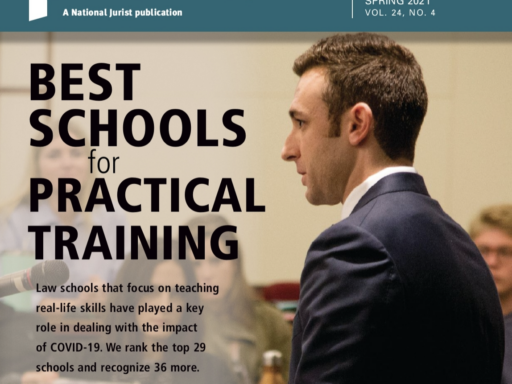Photo of preLaw magazine cover with words Best Schools for Practical training