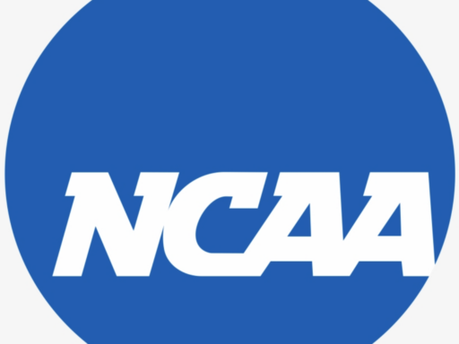 Photo of NCAA logo with blue background and white letters
