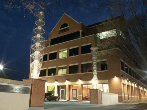 Photo of Campbell Law School entrance at night