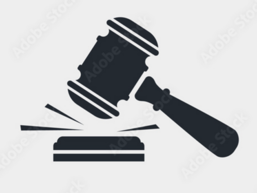 Black and white graphic image of a gavel