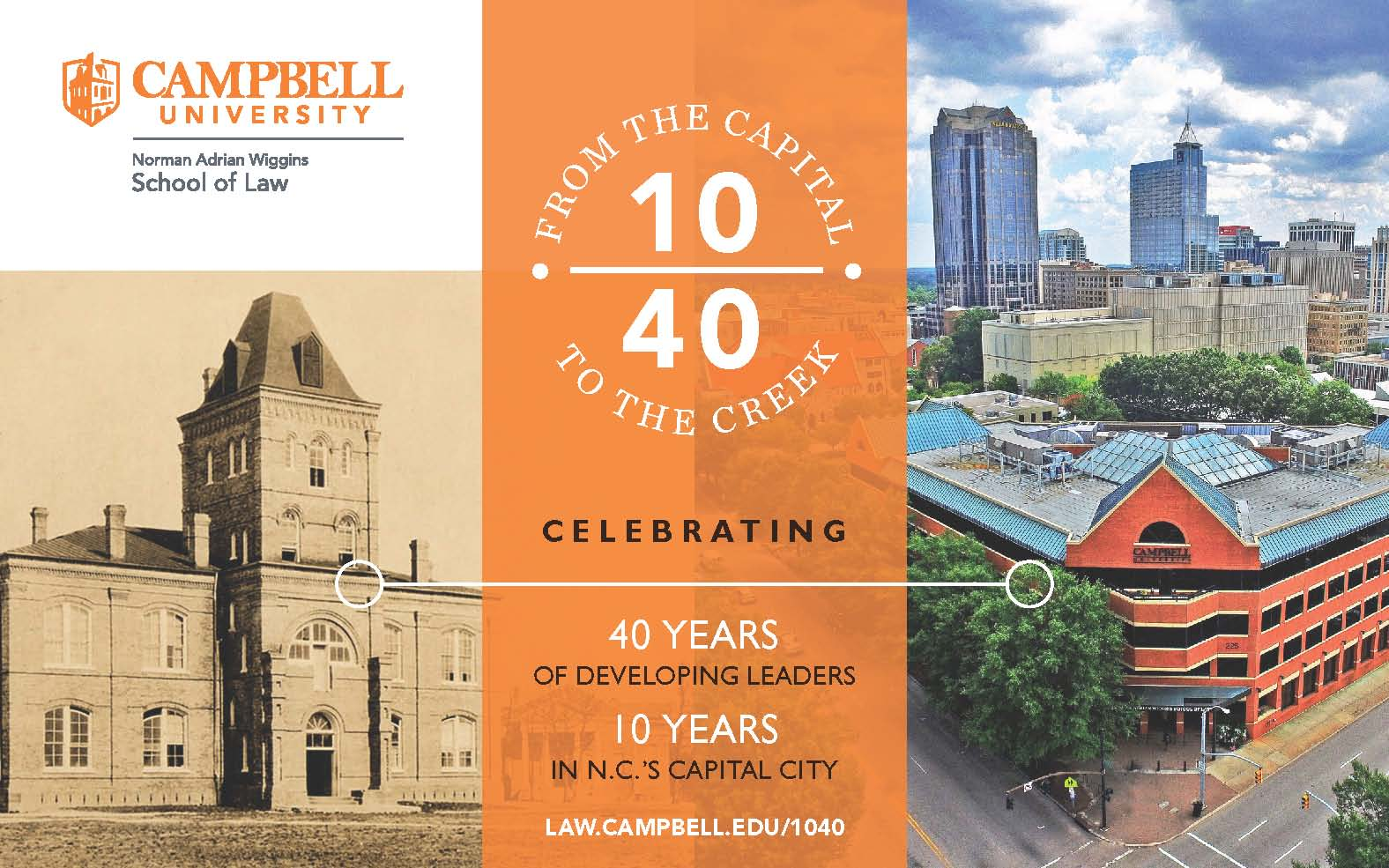 Graphic with text saying Celebrating 10/40 From the Capital to The Creek