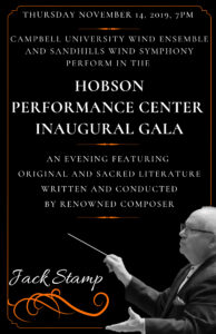 Poster for the Hobson Performance Center Inaugural Gala on Nov. 14, 2019.