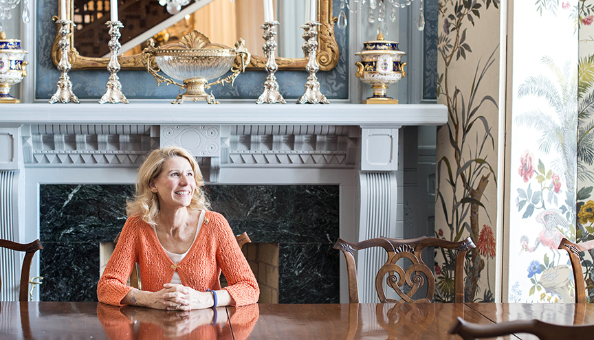 First Lady Kristin Cooper at the Executive Mansion in Raleigh, NC. This huge dining room is her favorite room in the house.