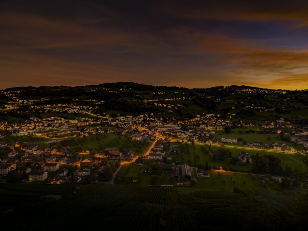 Rural town with lights shining