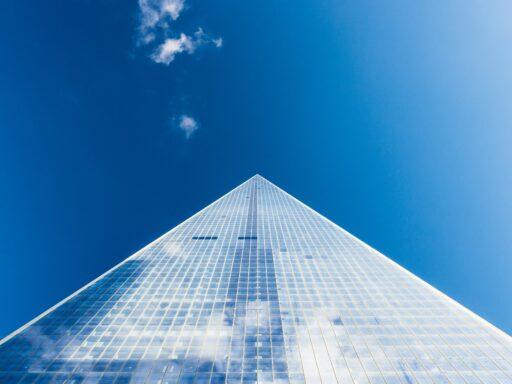 Skyscraper with a blue sky
