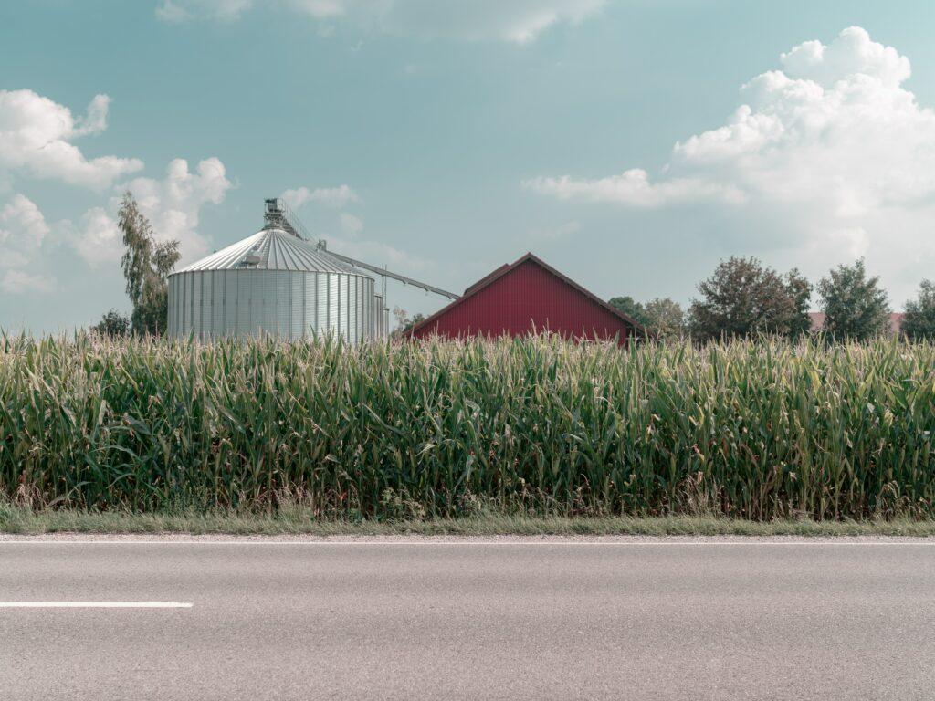 barn with a silo