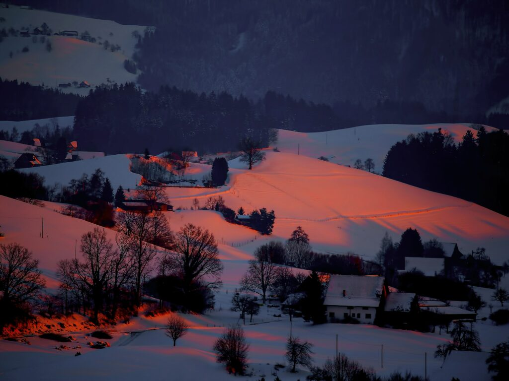 Sunset on a winter day in a rural town