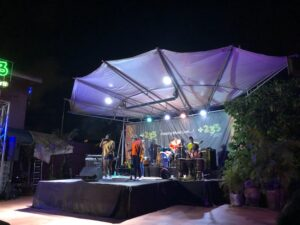Photo of a local band of women playing on stage in Accra, Ghana
