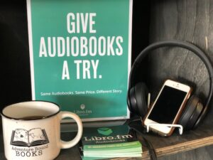 Display encouraging customers to give audiobooks a try.