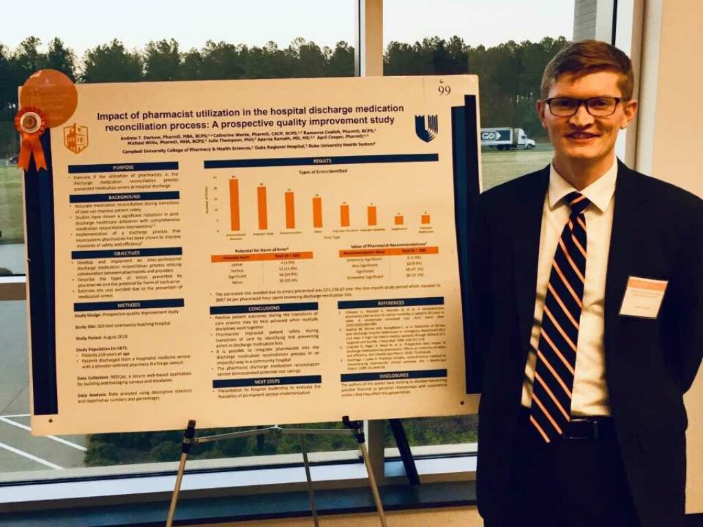 Campbell alumnus presents a research poster