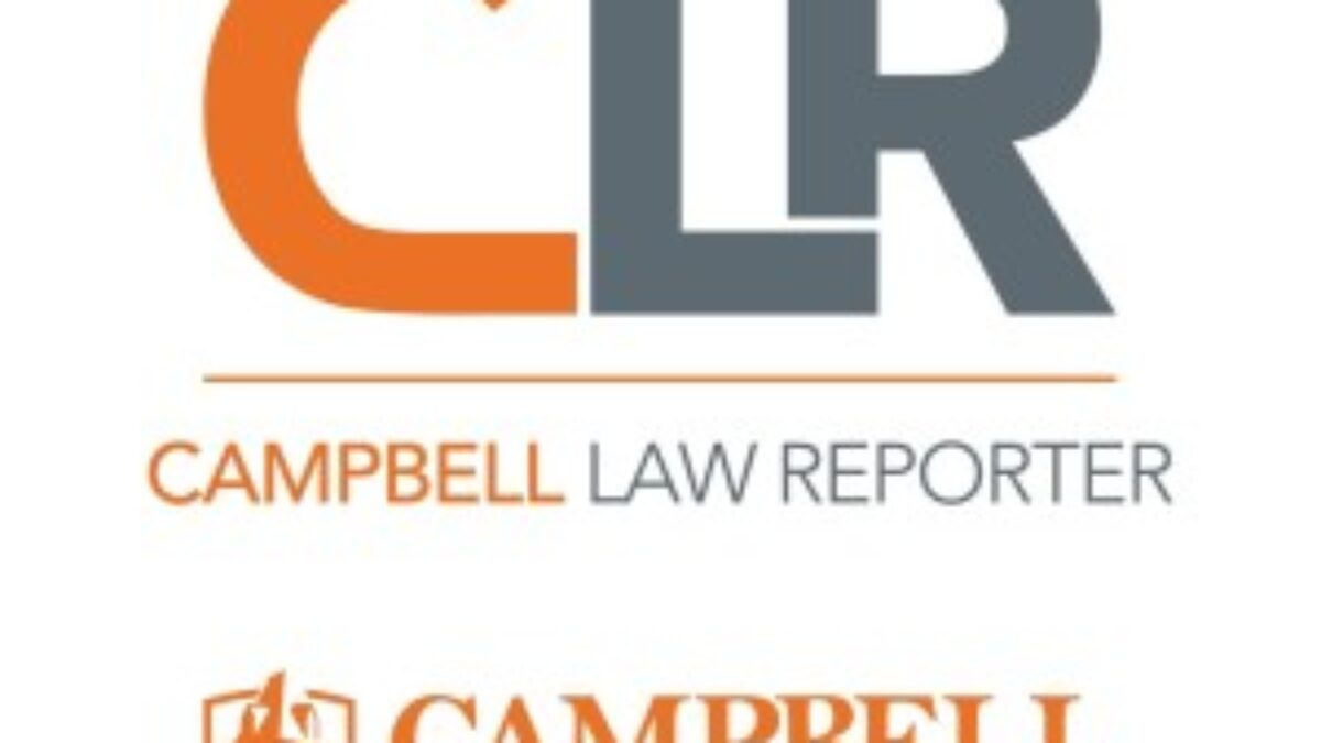 Logo that has letters CLR in orange and gray with a line underneath the words say Campell Law Reporter with Campbell University logo