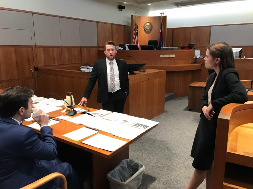 Photo of Campbell Law students competing in a courtroom