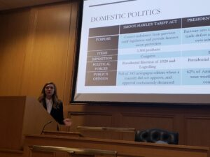 Photo of Lindsey Reedy giving her dissertation presentation at Nottingham Law School