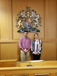 Photo of Campbell Law students Lindsey Reedy and John Ryan in Nottingham Law courtroom