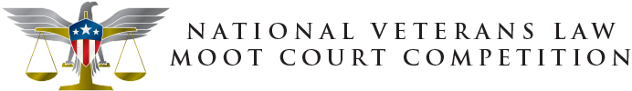 Logo with symbol of eagle, U.S. Flag in shape of shield and gold scales and the words National Veterans Law Moot Court Competition