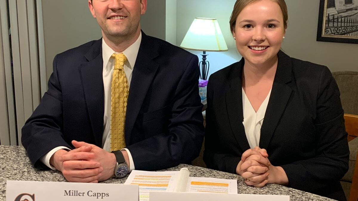 Photo of Campbell Law's competitors are second-year law students Rebecca Skahen and Miller Capps
