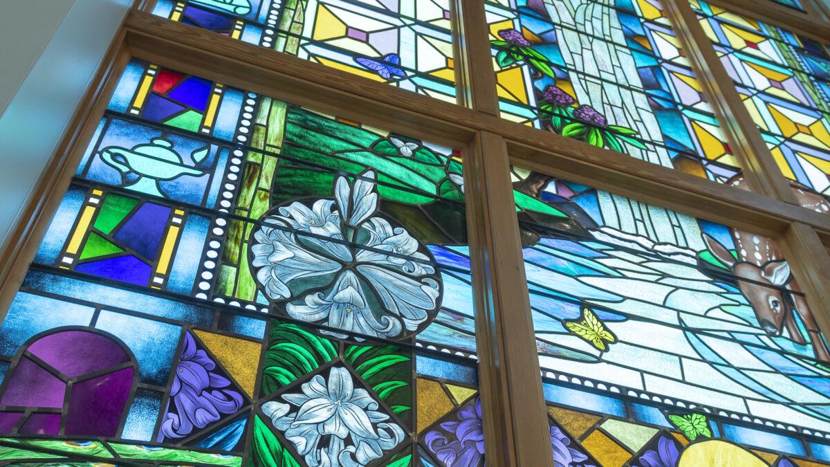 The Creation Window inside Butler Chapel.