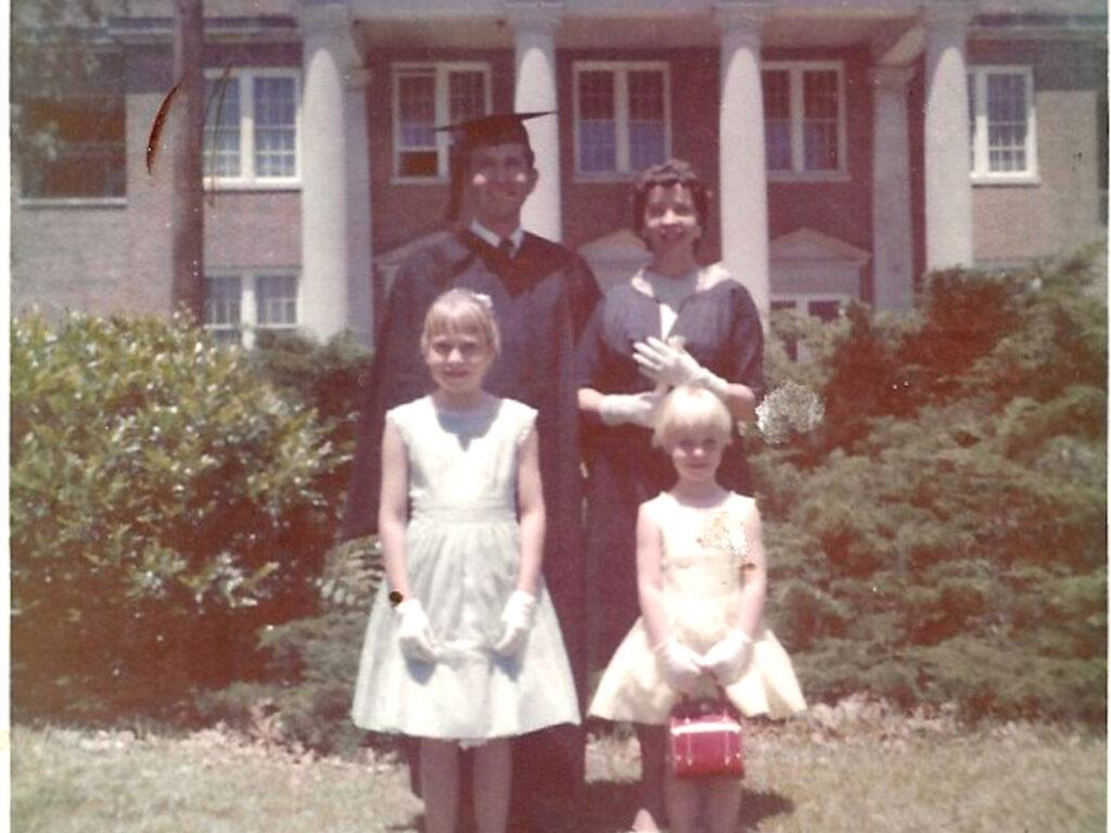 Renee (right) with her family on her father's graduation day.