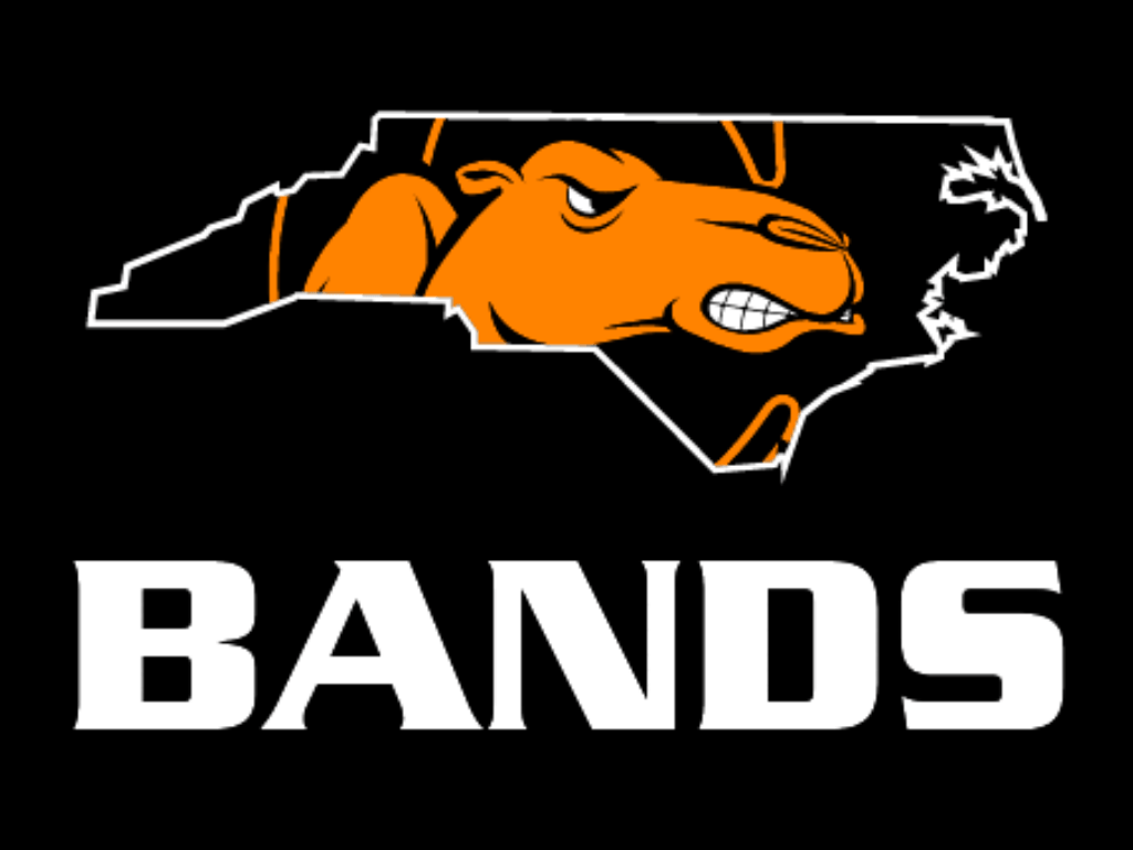 State of North Carolina Outline with Campbell Logo in middle with bands under it
