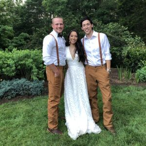 bride, groom and brother