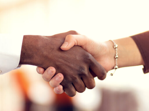 Photo of a black person's hand shaking a white person's hand