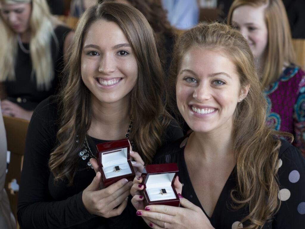 Taylor (left) and her friend pictured here at their Ring Ceremony.