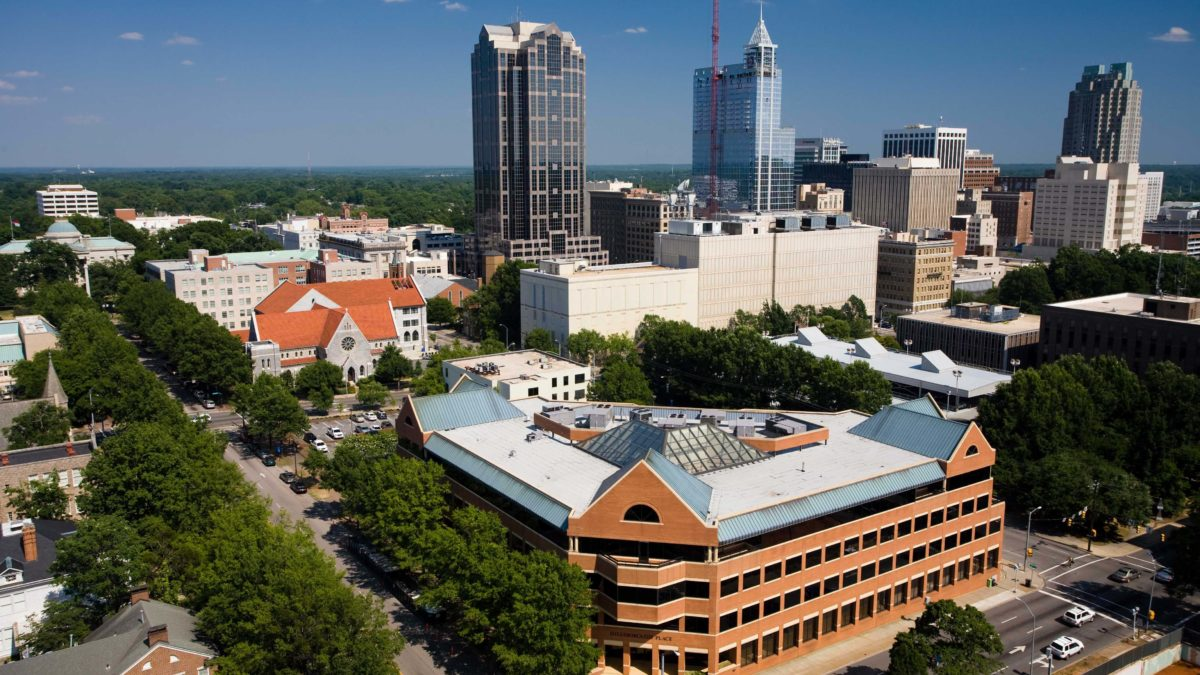 image of campbell law school and downtown Raleigh