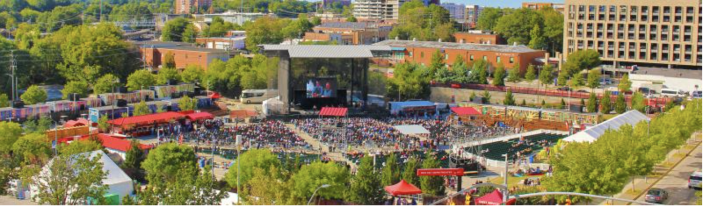 Aerial photo of Red Hat Amphitheater